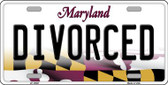 Divorced Maryland Background Wholesale Metal Novelty License Plate