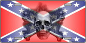 Confederate Flag Skull Wholesale Metal Novelty License Plate LP-2406