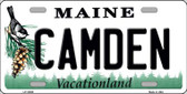 Camden Maine Background Wholesale Metal Novelty License Plate
