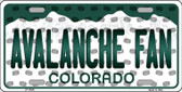 Avalanche Fan Colorado Background Novelty Wholesale Metal License Plate