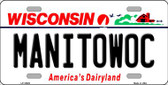 Manitowoc Wisconsin Background Wholesale Metal Novelty License Plate