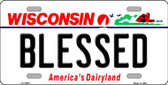 Blessed Wisconsin Background Wholesale Metal Novelty License Plate