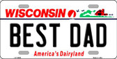 Best Dad Wisconsin Background Wholesale Metal Novelty License Plate