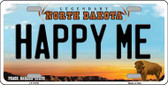 Happy Me North Dakota Background Wholesale Metal Novelty License Plate