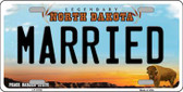 Married North Dakota Background Wholesale Metal Novelty License Plate