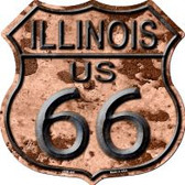 Route 66 Illinois Rusty Highway Shield Wholesale Novelty Metal Magnet