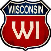Wisconsin Highway Shield Novelty Metal Magnet