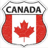 Canada Flag Highway Shield Novelty Metal Magnet