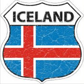Iceland Flag Highway Shield Novelty Metal Magnet