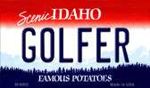 Golfer Idaho State Background Wholesale Metal Novelty Magnet