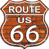 Route 66 Orange Brick Wall Wholesale Highway Shield Novelty Metal Magnet