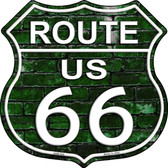 Route 66 Green Brick Wall Wholesale Highway Shield Novelty Metal Magnet HSM-554