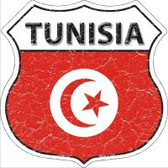 Tunisia Flag Highway Shield Novelty Metal Magnet