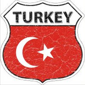 Turkey Flag Highway Shield Novelty Metal Magnet