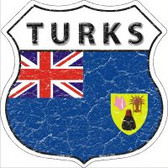 Turks Flag Highway Shield Novelty Metal Magnet