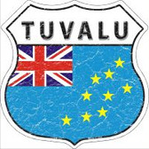 Tuvalu Flag Highway Shield Novelty Metal Magnet