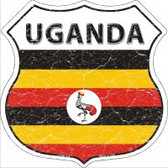 Uganda Flag Highway Shield Novelty Metal Magnet