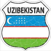 Uzibekistan Flag Highway Shield Novelty Metal Magnet