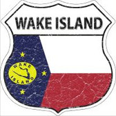 Wake Island Flag Highway Shield Novelty Metal Magnet