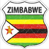 Zimbabwe Flag Highway Shield Novelty Metal Magnet