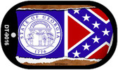 """Georgia State Flag Scroll Dog Tag Kit 2"""" Wholesale Metal Novelty Necklace"""