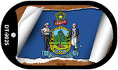 """Maine State Flag Scroll Dog Tag Kit 2"""" Wholesale Metal Novelty Necklace"""