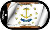 """Rhode Island State Flag Scroll Dog Tag Kit 2"""" Wholesale Metal Novelty Necklace"""