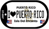"I Love Puerto Rico Flag Dog Tag Kit 2"" Wholesale Metal Novelty Necklace"