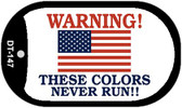 "Warning These Colors Never Run Dog Tag Kit 2"" Wholesale Metal Novelty Necklace"