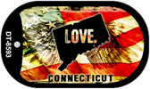 "Connecticut Love Flag Dog Tag Kit 2"" Wholesale Metal Novelty Necklace"