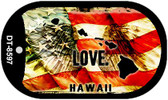 "Hawaii Love Flag Dog Tag Kit 2"" Wholesale Metal Novelty Necklace"