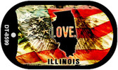 "Illinois Love Flag Dog Tag Kit 2"" Wholesale Metal Novelty Necklace"