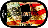 "Indiana Love Flag Dog Tag Kit 2"" Wholesale Metal Novelty Necklace"