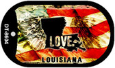 "Louisiana Love Flag Dog Tag Kit 2"" Wholesale Metal Novelty Necklace"