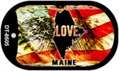 "Maine Love Flag Dog Tag Kit 2"" Wholesale Metal Novelty Necklace"