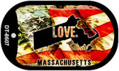 "Massachusetts Love Flag Dog Tag Kit 2"" Wholesale Metal Novelty Necklace"