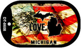 "Michigan Love Flag Dog Tag Kit 2"" Wholesale Metal Novelty Necklace"