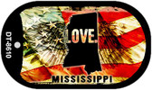"Mississippi Love Flag Dog Tag Kit 2"" Wholesale Metal Novelty Necklace"