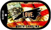 "North Carolina Love Flag Dog Tag Kit 2"" Wholesale Metal Novelty Necklace"