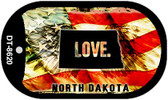 "North Dakota Love Flag Dog Tag Kit 2"" Wholesale Metal Novelty Necklace"