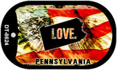 "Pennsylvania Love Flag Dog Tag Kit 2"" Wholesale Metal Novelty Necklace"