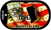 "Rhode Island Love Flag Dog Tag Kit 2"" Wholesale Metal Novelty Necklace"