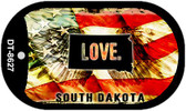 "South Dakota Love Flag Dog Tag Kit 2"" Wholesale Metal Novelty Necklace"