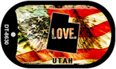 "Utah Love Flag Dog Tag Kit 2"" Wholesale Metal Novelty Necklace"