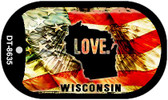 "Wisconsin Love Flag Dog Tag Kit 2"" Wholesale Metal Novelty Necklace"