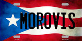 Morovis Puerto Rico Flag Background License Plate Metal Novelty Wholesale LP-11366
