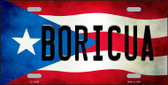 Boricua Puerto Rico Flag Background License Plate Metal Novelty Wholesale