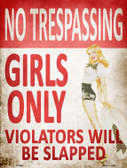 No Trespassing Girls Only Parking Sign Wholesale Metal Novelty