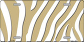 Gold White Zebra Print Wholesale Metal Novelty License Plate LP-2913