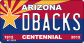 Dbacks Arizona Centennial State License Plate Wholesale Key Chain